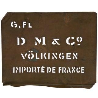 Vintage French Volklingen Ironworks Copper Stencil
