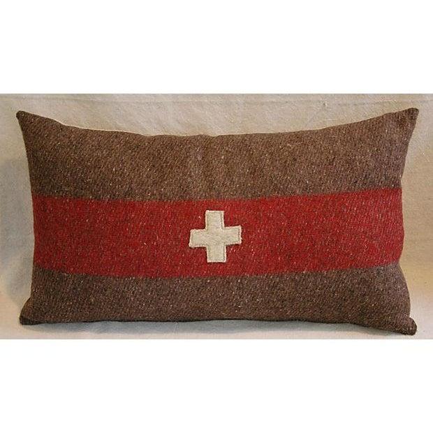 Swiss Wool Appliqué Cross Lumbar Pillows - Pair - Image 5 of 8