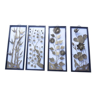 Mid-Century Asian Metal Art Panels - Set of 4