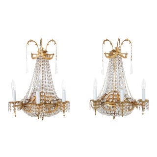 Vintage Crystal Chandelier Sconces - A Pair