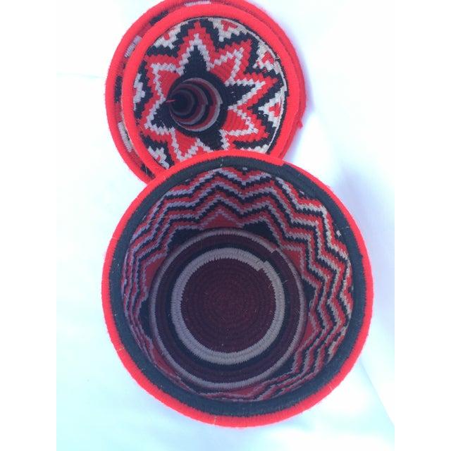 Vintage Red Moroccan Basket - Image 3 of 4