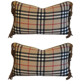 Vintage Mary Jane McCarty Burberry Wool Pillows - A Pair