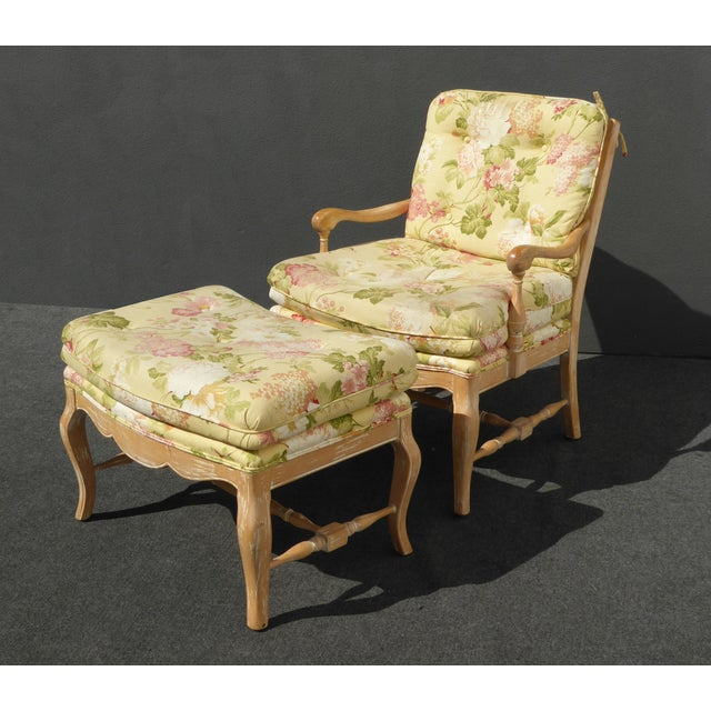 French Country Yellow Floral Accent Chair & Ottoman | Chairish