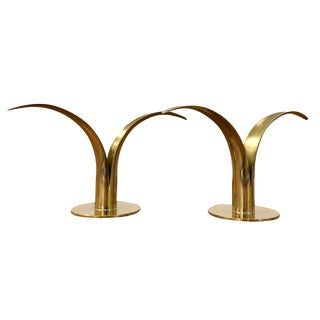 Ystad Vintage Swedish Brass Candleholders - A Pair