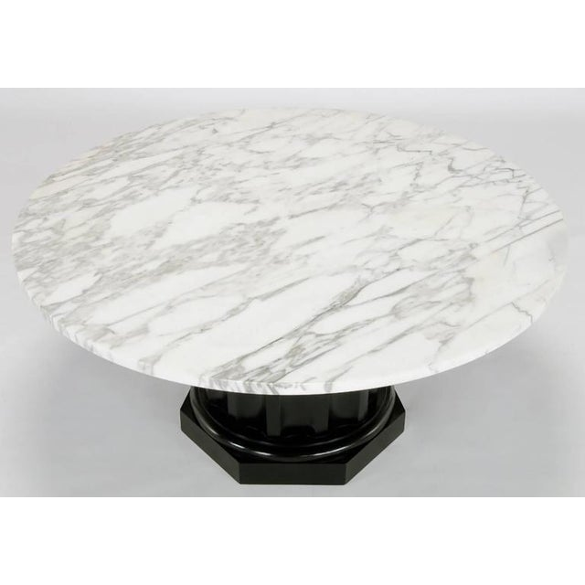 White Carrara Marble Coffee Table with Ebonized Fluted Wood Base - Image 4 of 7