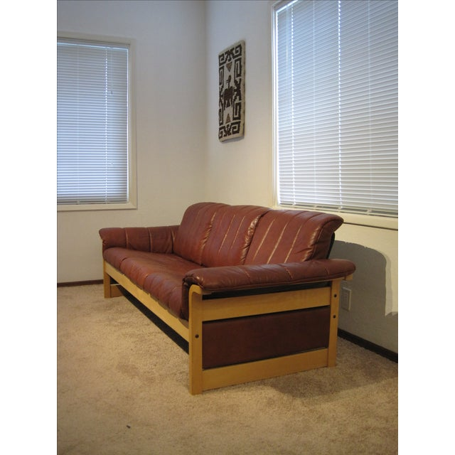 Red-Brown Leather Midcentury Modern Sofa - Image 4 of 11