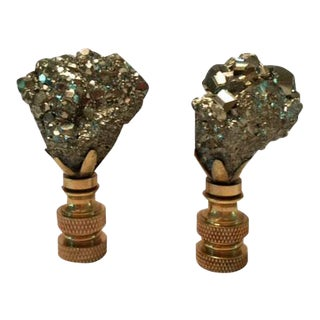 Pyrite Lamp Finials - A Pair