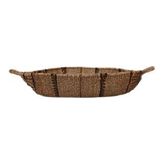Vintage Woven Boat-Shaped Basket