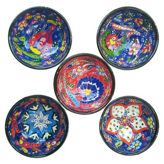 Multicolor Handmade Turkish Tile Bowls - Set of 5