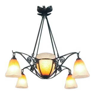 A French Wrought-Iron Chandelier with 5 Lights, Colored Schneider Art Glass