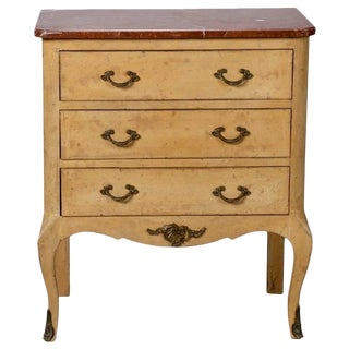 Small French Painted Chest with Marble Top and Bronze Embellishments