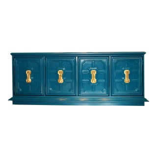 Stanley Hollywood Regency Teal Lacquered Credenza
