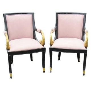 Regency Style Ebonized & Gilt Armchairs - A Pair
