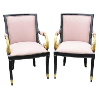Regency Style Ebonized & Gilt Armchairs - A Pair