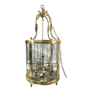 Cylinder Brass and Beveled Glass Pendulum Pendent Chandelier