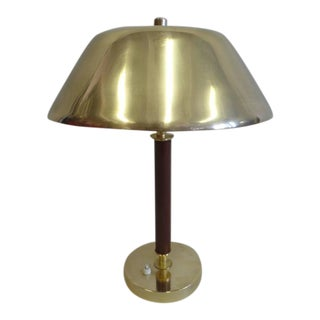Sober, Modern Brass and Stitched Leather Desk Lamp Attributed to Jacques Adnet