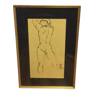 Pen & Ink Nude Drawing by Evan Ford Thomas Signed