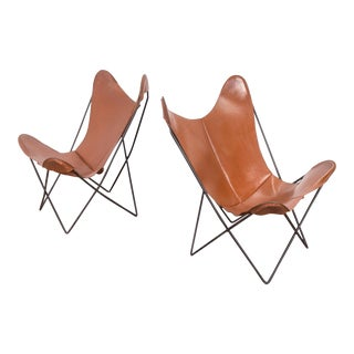 Pair of Tabacco Brown Hardoy Butterfly Chairs for Knoll