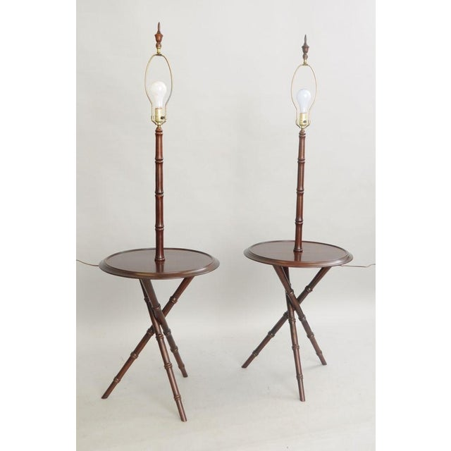 Chinese Chippendale Faux Bamboo Lamp Tables - A Pair - Image 4 of 11