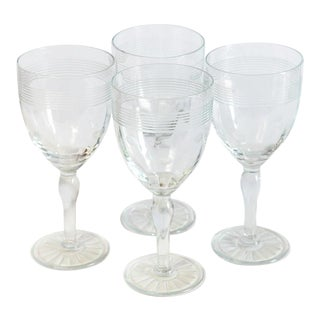 Vintage Dot and Band Goblets - Set of 4