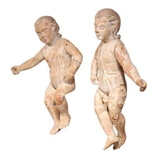 Mid-18th Century Italian Hand-Carved White Wash Cherubs - A Pair