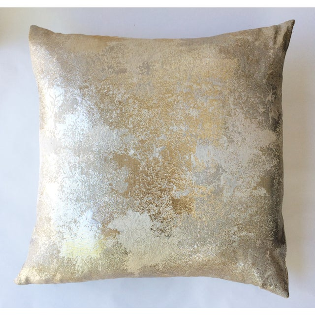 Square Feathers Gold Metallic Pillow - Image 2 of 3