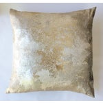 Image of Square Feathers Gold Metallic Pillow