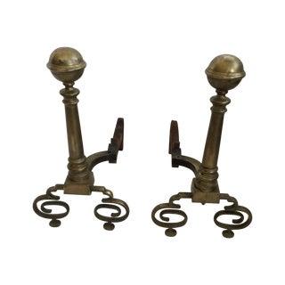 Andirons - Formal Brass Andirons - a Pair