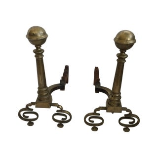 Formal Brass Andirons - Pair