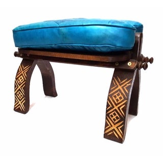 Turquoise Leather Moroccan Footstool