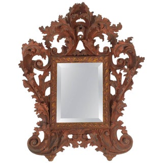 Italian Baroque Style Carved and Painted Wood Mirror