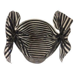 "French Contemporary Lucite Black &White Stripe ""Bow"" Bowl"