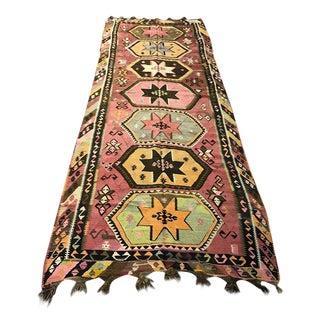 Vintage Anatolian Kars Kilim Rug - 4′6″ × 11′7″