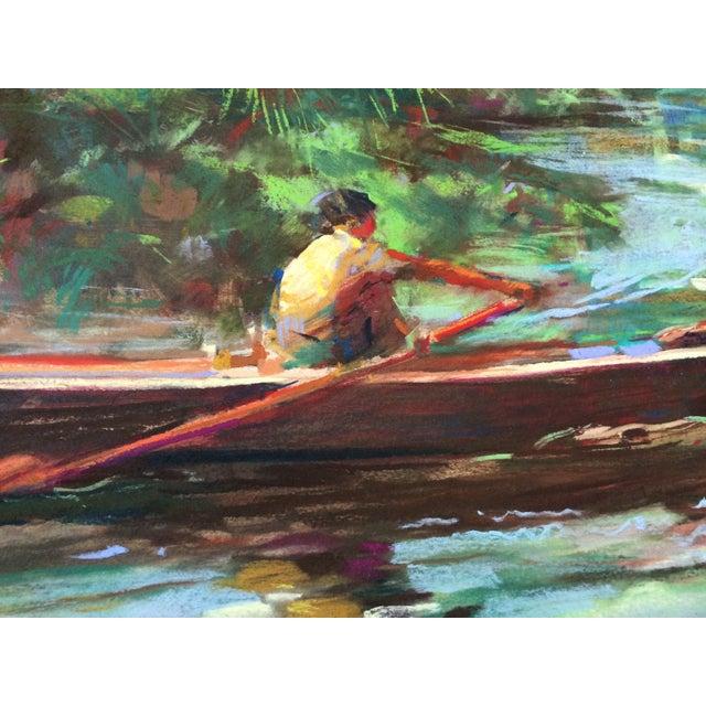 "Image of Original Framed ""Morning Row"" Art Pastel Monotype"
