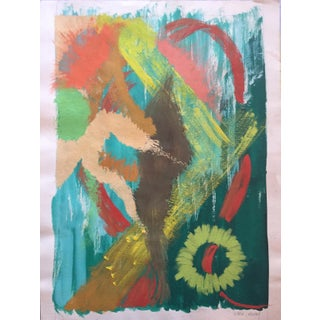 Vintage Abstract Expressionist Painting by Henry Woon