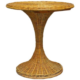 Mid-Century French Wicker Drinks Table