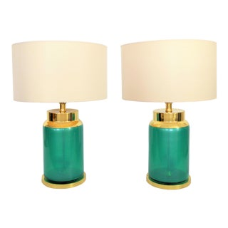 Vintage Italian Murano Reverse Painted Iridescent Blue/Green Glass Table Lamps - a Pair