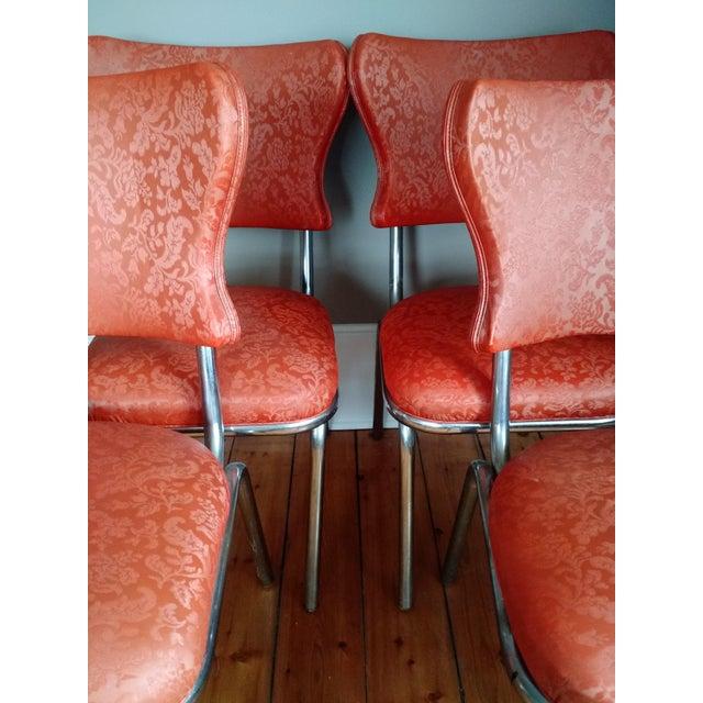Retro 1950s Vinyl & Chrome Dining Chairs - Set of 4 - Image 6 of 10
