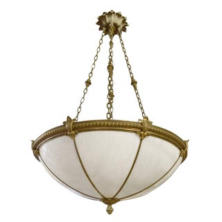 Set of Six Bronze and Glass Chandeliers