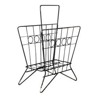 Mid Century Wrought Iron Wire Magazine Rack