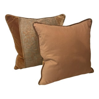 Pair of Green and Brown Velvet Fortuny Pillows