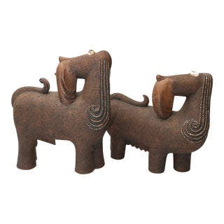 Pair of Artisan Signed Dogs