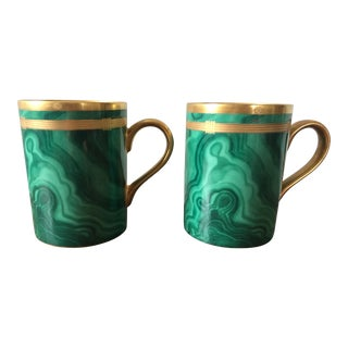 Christian Dior Gaudron Malachite Mugs - A Pair