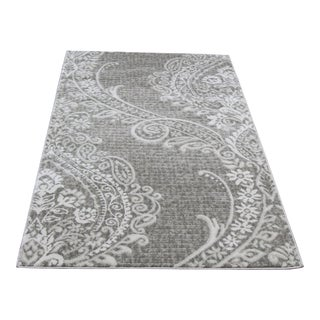 Contemporary Gray Damask Rug- 2′8″ × 5′