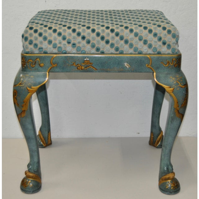 1960s Baker Furniture Upholstered Chinoiserie Seat - Image 2 of 8