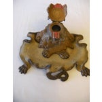 Image of Antique Lion Spelter Inkwell