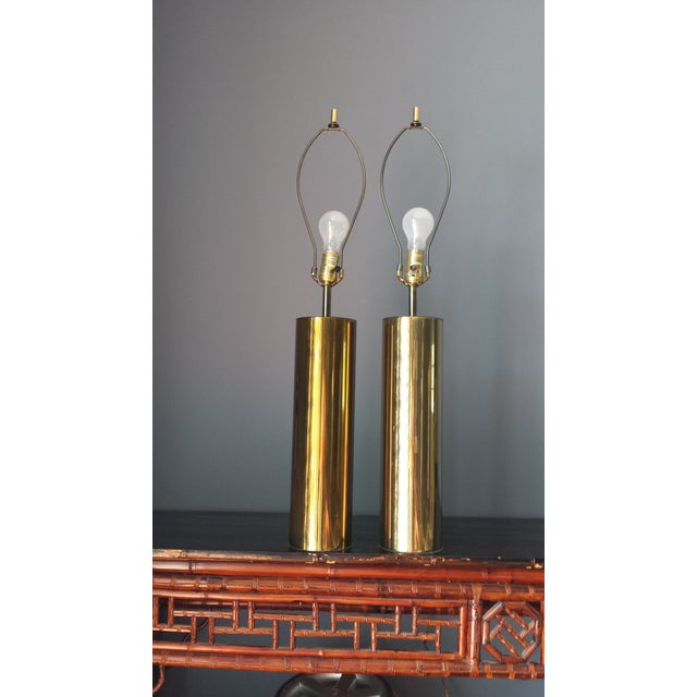 Brass Style Cylinder Table Lamps After Kovacs - 2 - Image 7 of 7