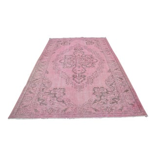 Turkish Overdyed Pale Pink Rug - 6′5″ × 10′5″