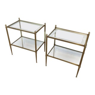 Pair of Brass Side Tables With Finials. Attributed to Maison Jansen