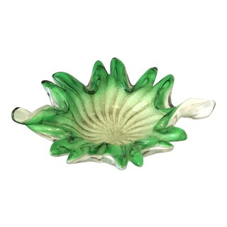Vintage Murano Glass Green and White Candy Bowl